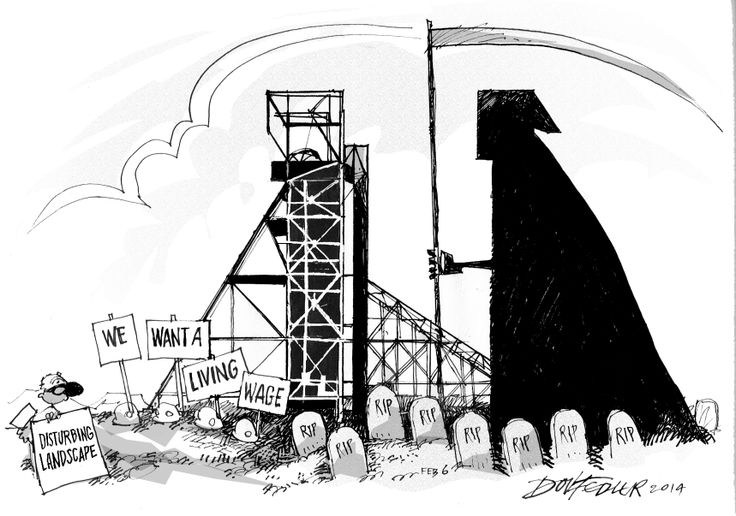 This Business Report cartoon highlights the poor state of South African mine safety following the death of eight workers after a blaze at Harmony's Doornkop mine.