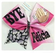 BYE Felicia Hot Pink Ombré Gltter Cheer Bow