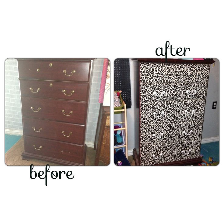 cherry wood dresser revamped with cheetah drawers