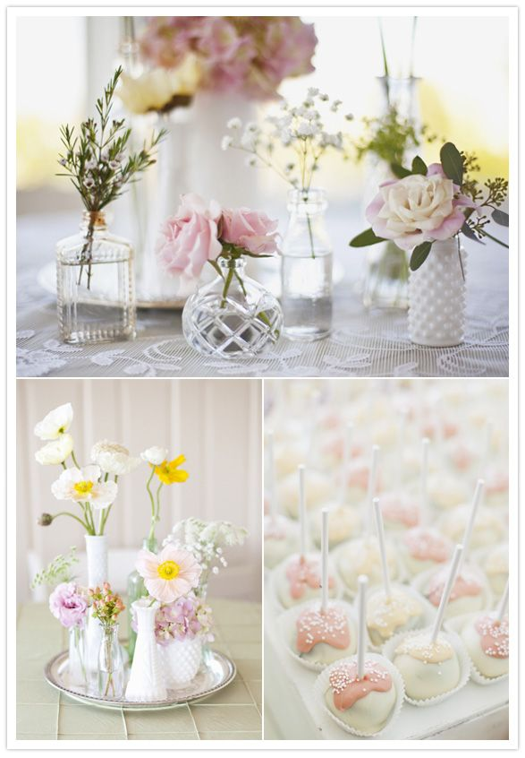 I adore mismatched vases :) very simple centerpiece idea that has a lot of character