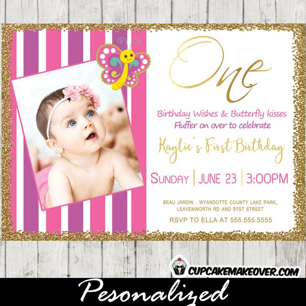 8 best butterfly birthday invitations first ideas images on beautiful first birthday invitations featuring the sweetest butterfly fluttering above your little girls picture against a stopboris Images