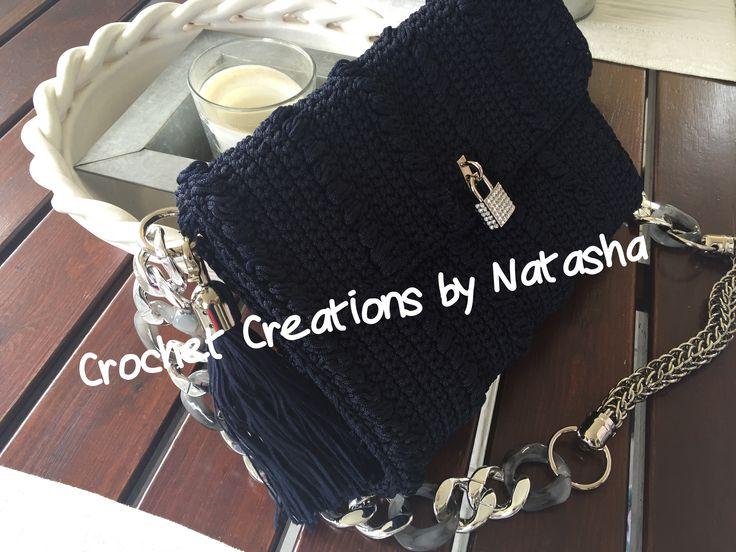 Dark blue handmade crochet bag with silver details  #crochetcreationsbynatasha #summerbag #itshandmade #crochetaddict #Handibrand #fabulous #chic #crochet #crochetbag #affordableluxury #justforyou #unique