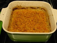 Aunt Martha's Sweet Potato Pudding made with grated raw sweet potatoes and good stuff