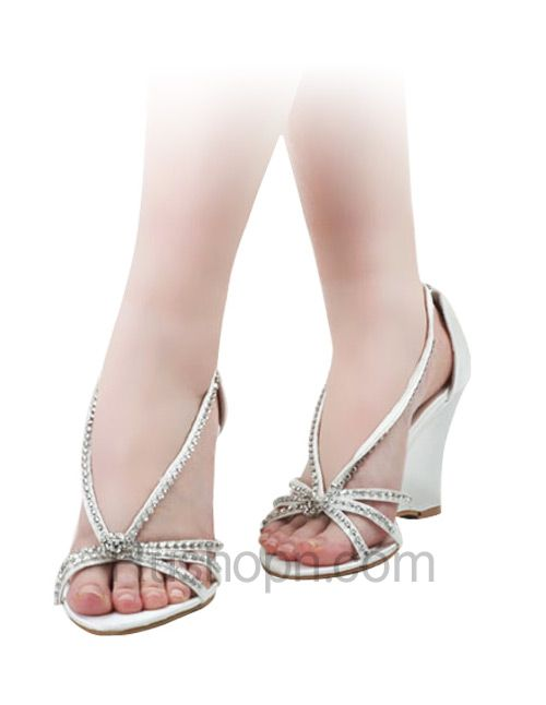 White Satin Rhinestone Wedding Wedge Sandals