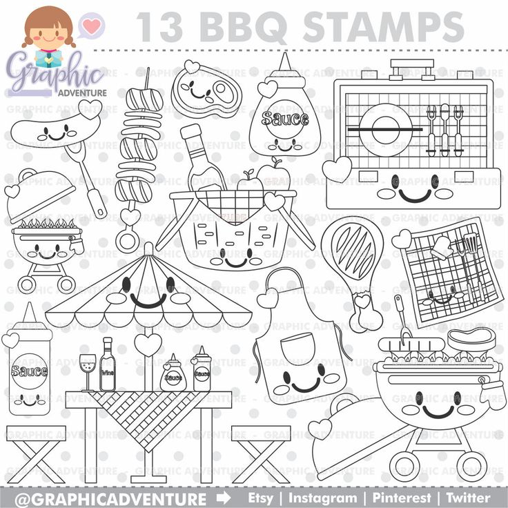 75 Off Bbq Stamp Commercial Use Digi Stamp Digital Image Party Digistamp Bbq Coloring Page Barbecue Stamp Coloring Pages Digi Stamp Cute Coloring Pages