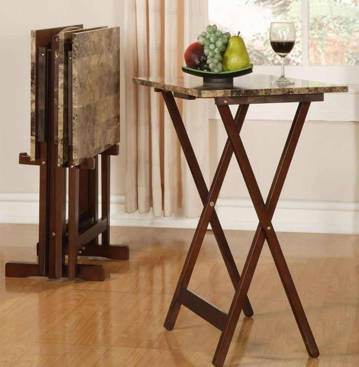 Traditional Faux Marble Rectangular Wood Snack TV Tray Stand Storage Furniture #TVTrayStand