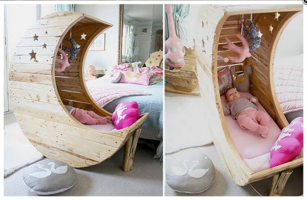 Over the Moon for Moons! (http://blog.hgtv.com/design/2014/07/01/decor-trend-the-moon/?soc=pinterest): Babies, Ideas, Baby Cradles, Shape Cradles, Cribs, Moon Shape, Diy Projects, Kid, Baby Stuff