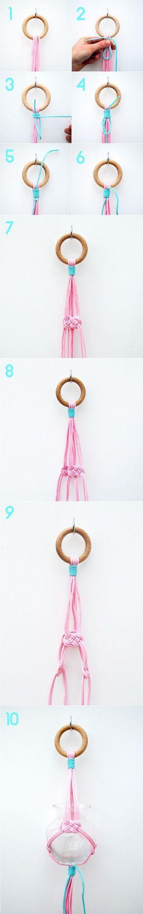 Simple hanging vase // Josephine knot & gathering knot | Mini-eco