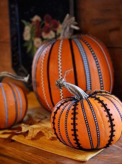 Pumpkins with ribbon and ric-rac. You could also use Washi Tape!