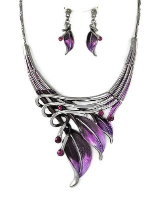 Silvertone Purple Leaf Statement Necklace and Earrings Set.$26.99