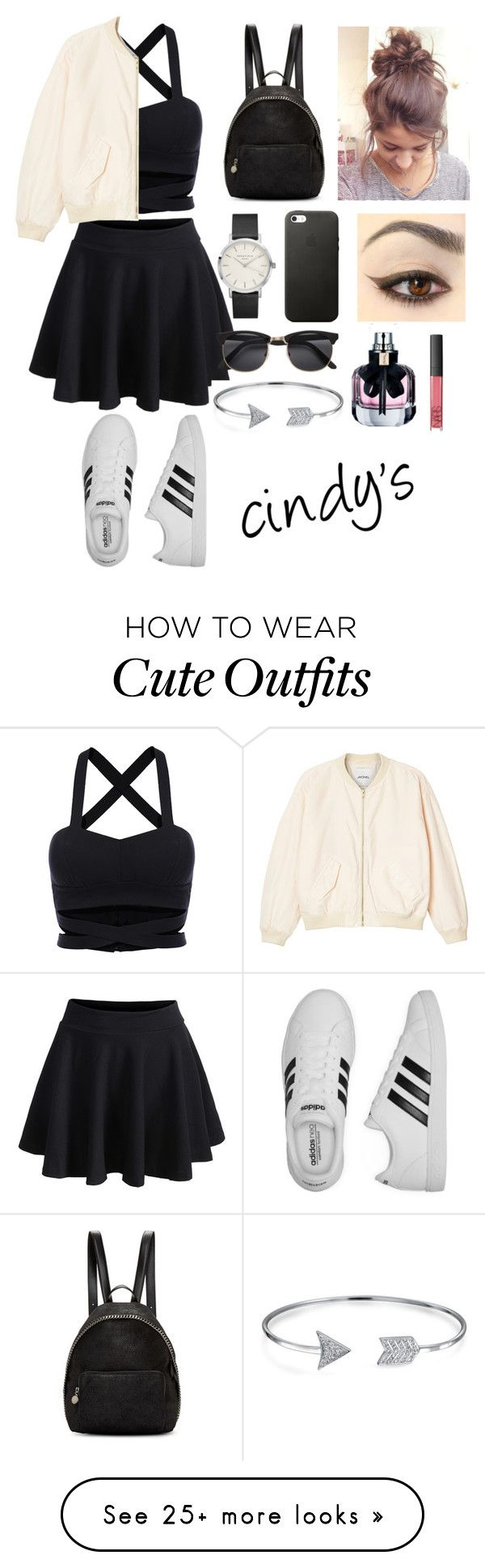 """outfit of the day1"" by cindyvirgantari on Polyvore featuring Monki, STELLA McCARTNEY, adidas, Bling Jewelry, Yves Saint Laurent and NARS Cosmetics"