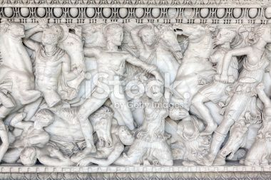 Decoration on ancient sarcophagus at the entrance of the Archaeological Museum of Thessaloniki in Greece