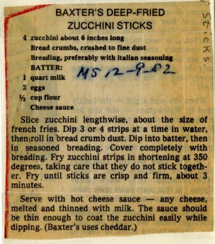 Baxter's Deep-Fried Zucchini Sticks :: Historic Recipe