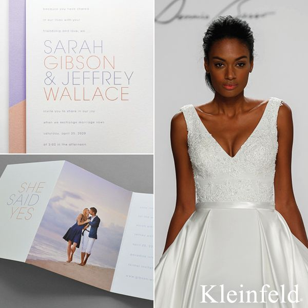 Perfect Pair || Dennis Basso bridal dress from Kleinfeld Bridal paired with 'True Colors' wedding invitation from Kleinfeld Paper || http://www.kleinfeldpaper.com/retailer_locator.cfm