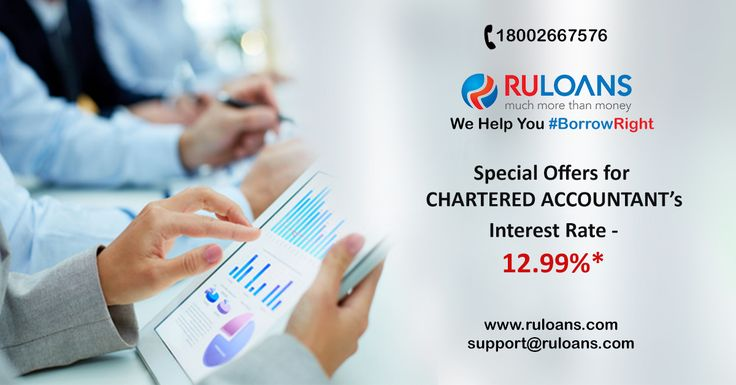 Personal Loan specially for Chartered Accountants. Interest rate starting from 12.99%*. For further details visit us - https://www.ruloans.com/cms/personal-loan-for-ca/ ‪#‎Ruloans‬ ‪#‎BorrowRight‬