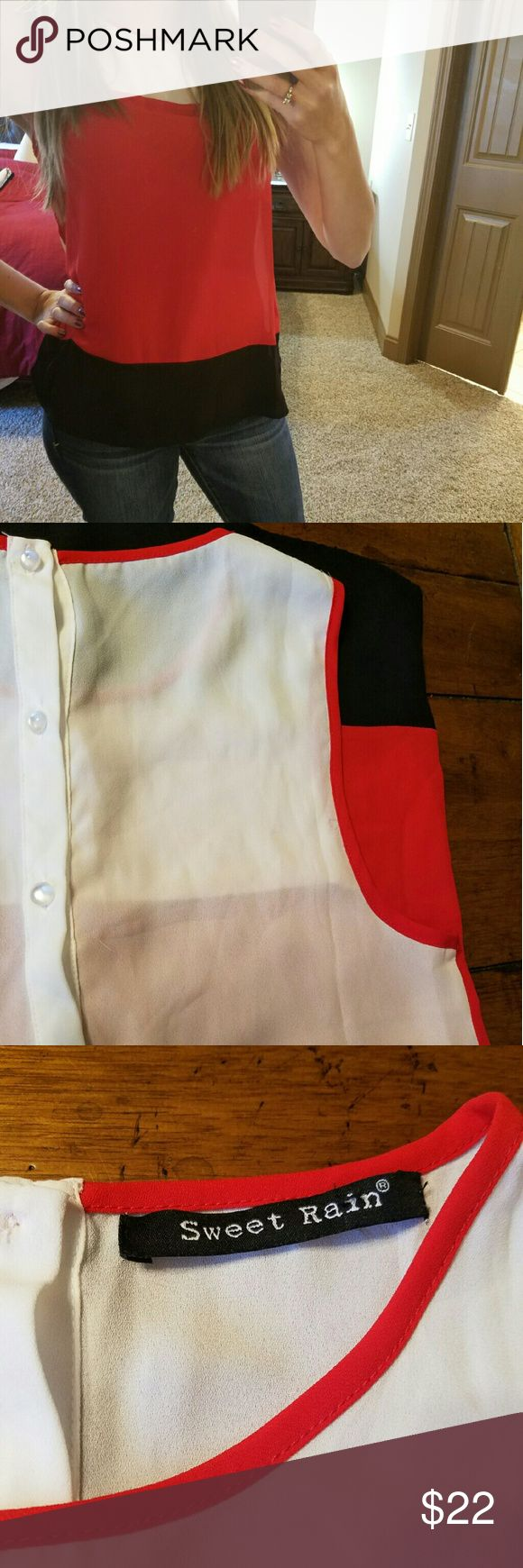 Bogo sale! Color Block Top Super cute Color Block Top with buttons down back  Red, black, and white Tops