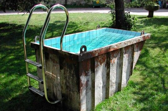 Mini Dumpster Pool is Perfect for Soaking. Probably a very affordable pool idea.