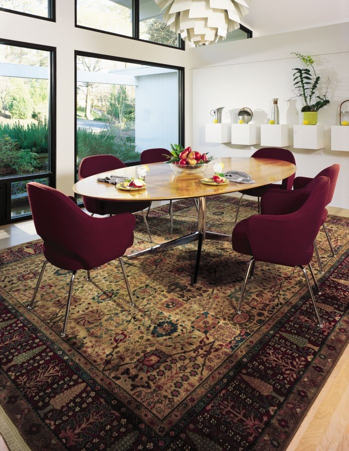 modern room with a persian style area rug creates a great space