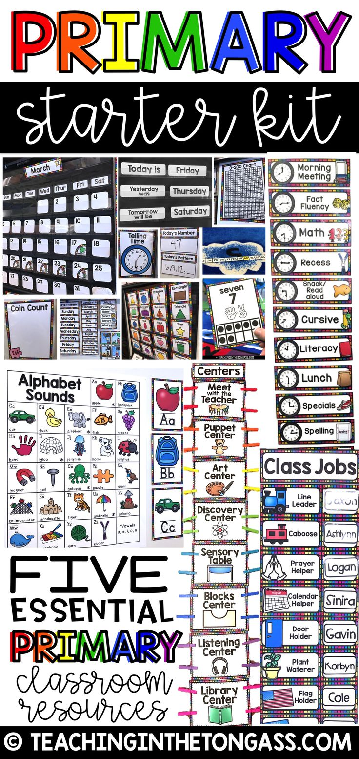This Preschool Starter Kit is perfect for really any Preschool, Kindergarten, First and even Second grade classroom! Functional and colorful decor that actually serves a purpose--learning!  Matching rainbow themed resources include:  Calendar Kit Center Signs Alphabet Cards Classroom Jobs Schedule Cards