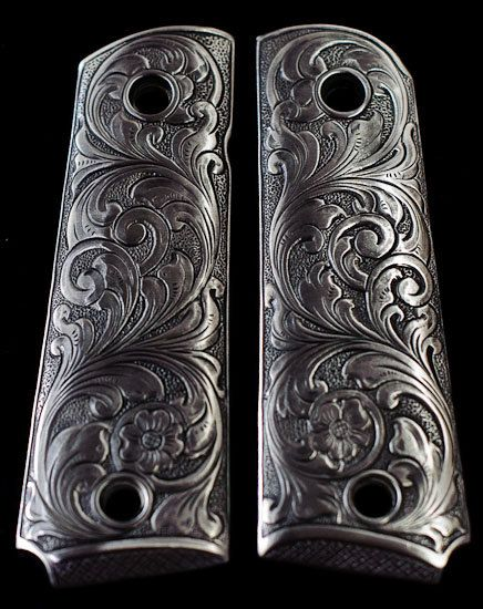 PEWTER 1911 GUN Grips Engraved Floral Scroll Design Kimber Colt Smith Wesson Pistol More