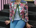 Flower Print Embroidery Jacquard Long Sleeves Jacket Reviews - Colormix L