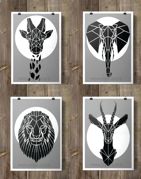 Set of four Geometric Safari Animals on Grey Background, Faux Taxidermy Nursery Art perfect for little or big boys room. Origami inspired African