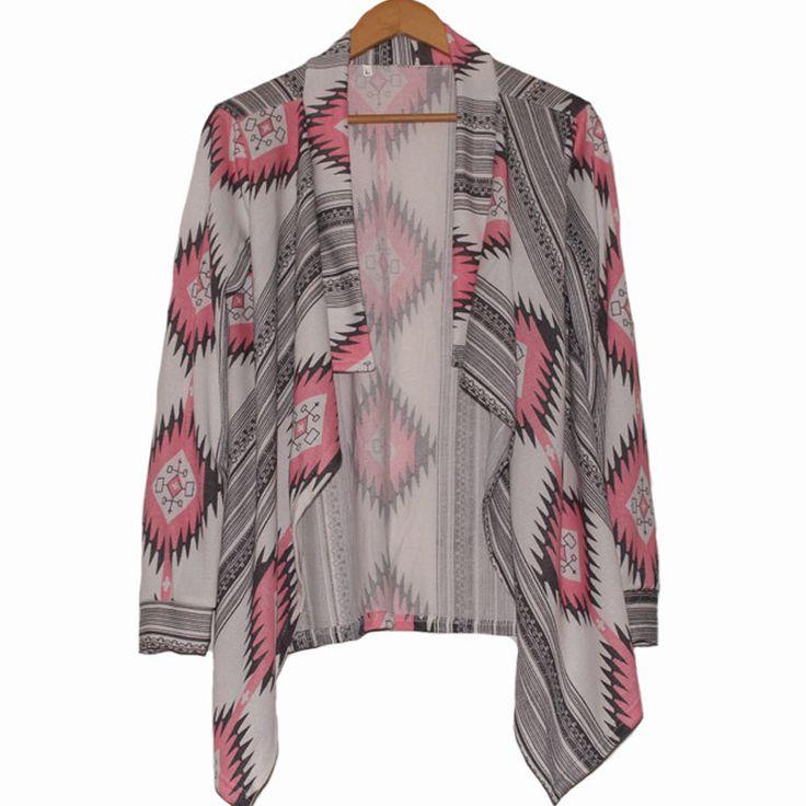 2016 Fashion Women Sweaters Cardigan Coat New Autumn Winter Argyle Long Sleeve Shrug Sweater Irregular Hem Loose Blouse Poncho