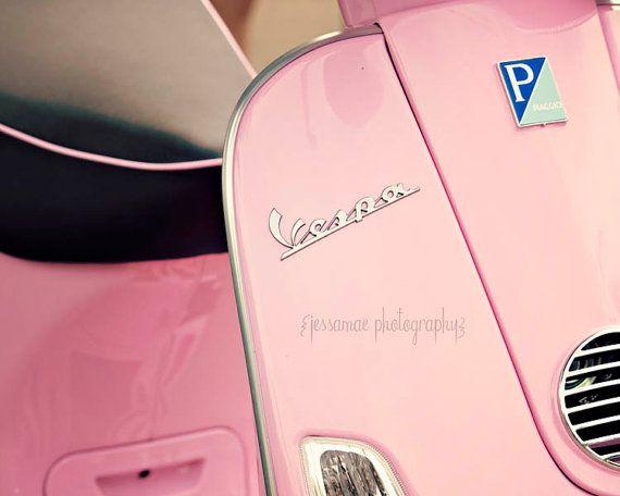 Pink Vespa Photography - Bubblegum Pink Vespa - Retro Girly Travel Pink Vespa Photography Print Pink Scooter Black Silver Unique Wall Art