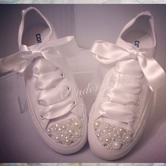Pure White Pearl Converse / bridal converse / by CindersWish