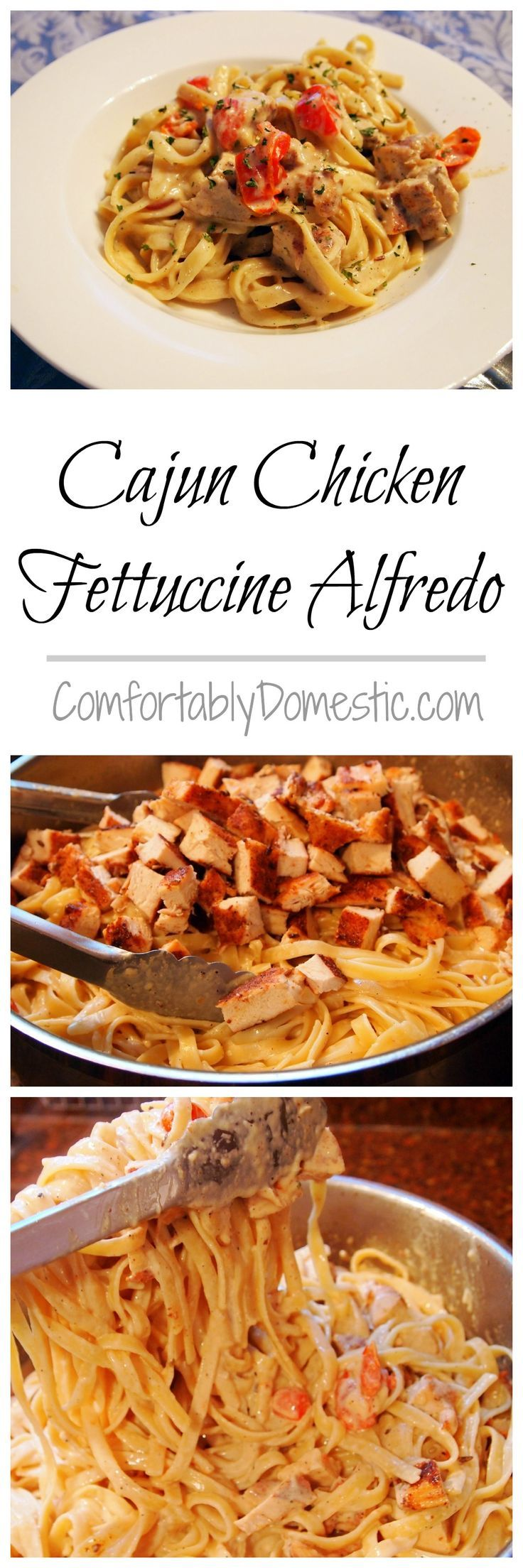 My go-to comfort dinner. Use rotisserie chicken to make it FAST. Cajun-Chicken-Fettuccine-Alfredo-Pasta