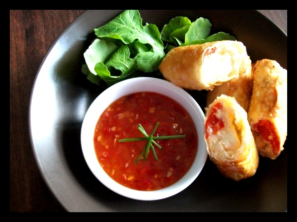 Feta and Peppadew Spring Rolls with Sweet Chili Sauce