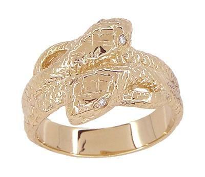 Men's Double Serpent Snake Ring with Diamond Eyes in 14 Karat Rose Gold - Item: R897R