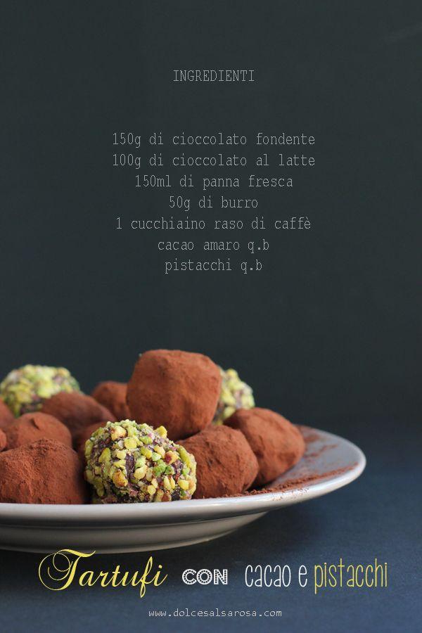 Tartufi con cacao  e pistacchi