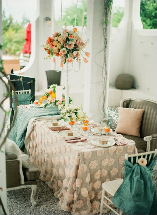 teal, citrus, and blush table
