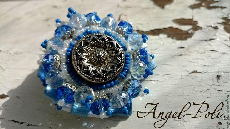 """Купить Брошь """"Голубая награда"""" - голубой, подарок, что подарить подруге, брошь, брошь ручной работы"""