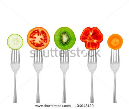 Diet concept nutrition, organic food. Healthy meal for weight dump. Diet concept nutrition, organic food. Fruits and vegetables on forks.