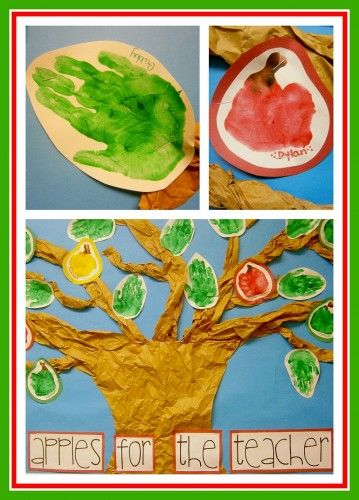 Apple Hand Print Tree Bulletin Board from www.fun-a-day.com.  A fun use of children's hand print art to decorate a classroom or at home!