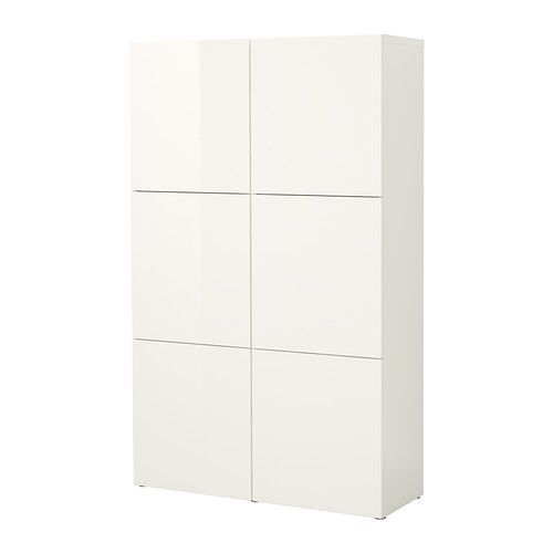 """Product dimensions $330 Besta Storage Combo with doors, high gloss white Width: 47 1/4 """" Depth: 15 3/4 """" Height: 75 5/8 """""""