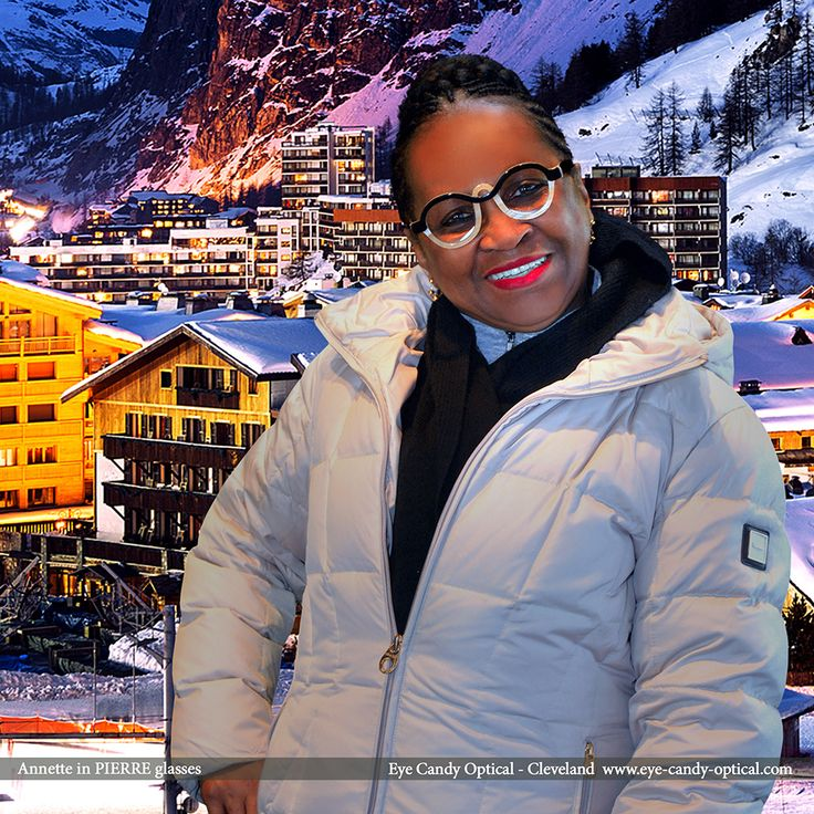 Annette is on a skiing trip to French Alps wearing her new French designer glasses by Pierre.  Eye Candy - Your fastest slope to the finest European Eyewear Fashion! Eye Candy Optical Cleveland - The Best Glasses Store! (440) 250-9191 - Book an Eye Exam Online or Over the Phone www.eye-candy-optical.com