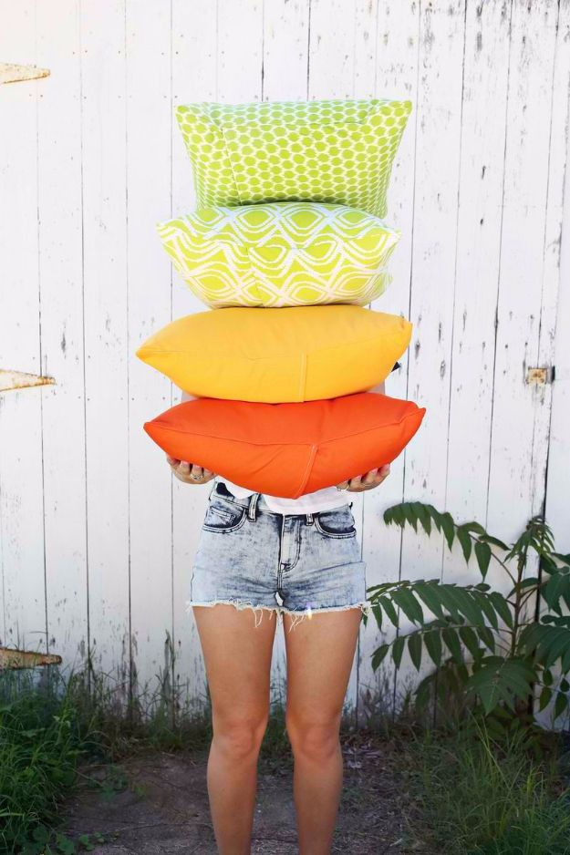 Sewing Crafts To Make and Sell - Outdoor Pillows In 3 Ways - Easy DIY Sewing Ideas To Make and Sell for Your Craft Business. Make Money with these Simple Gift Ideas, Free Patterns, Products from Fabric Scraps, Cute Kids Tutorials http://diyjoy.com/crafts-to-make-and-sell-sewing-ideas