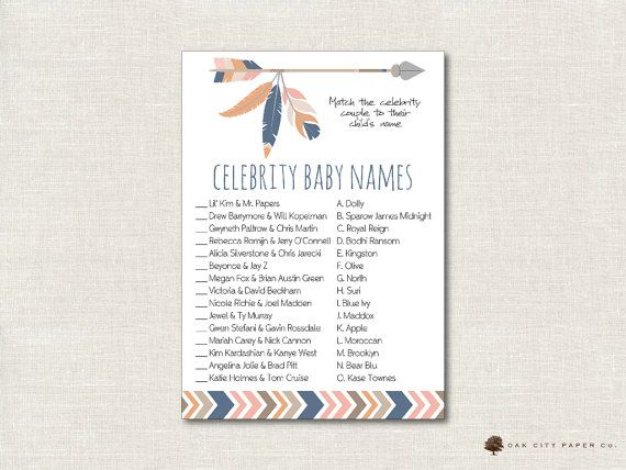 Tribal Celebrity Baby Shower Game   Tribal Celebrity Baby Name Game, Tribal  Celebrity Baby Name Quiz, Celebrity Baby Match Game, Printable