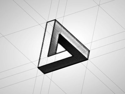 penrose triangle: use black, white, & champagne gold color