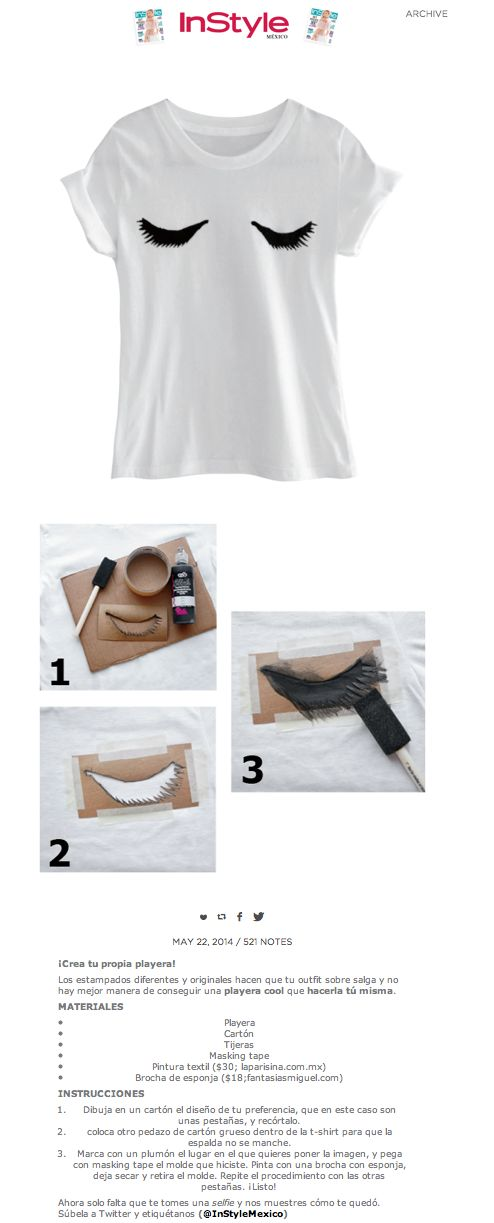 Clo By Clau!: DIY Ideas: Lashed T-Shirt - Diseña tu propia camiseta con un dibujo personalizado