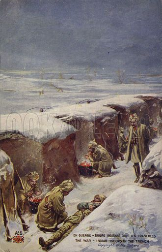 Indian soldiers in a trench in the snow, World War I.