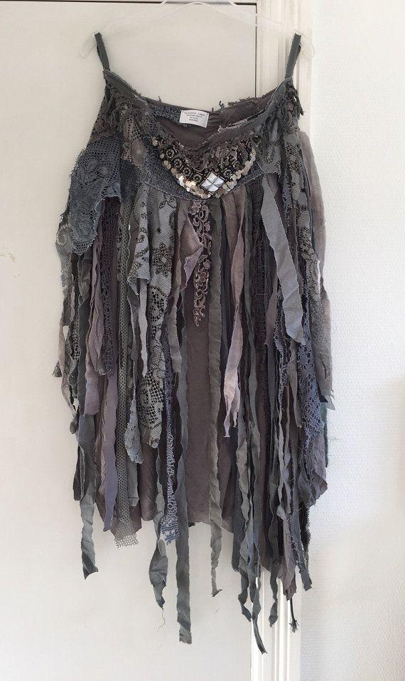 Tattered elven skirt , woodland clothing , trashed skirt ,