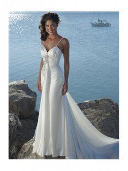 La cintura del imperio v-cuello capilla tren vestidos de novia para playa