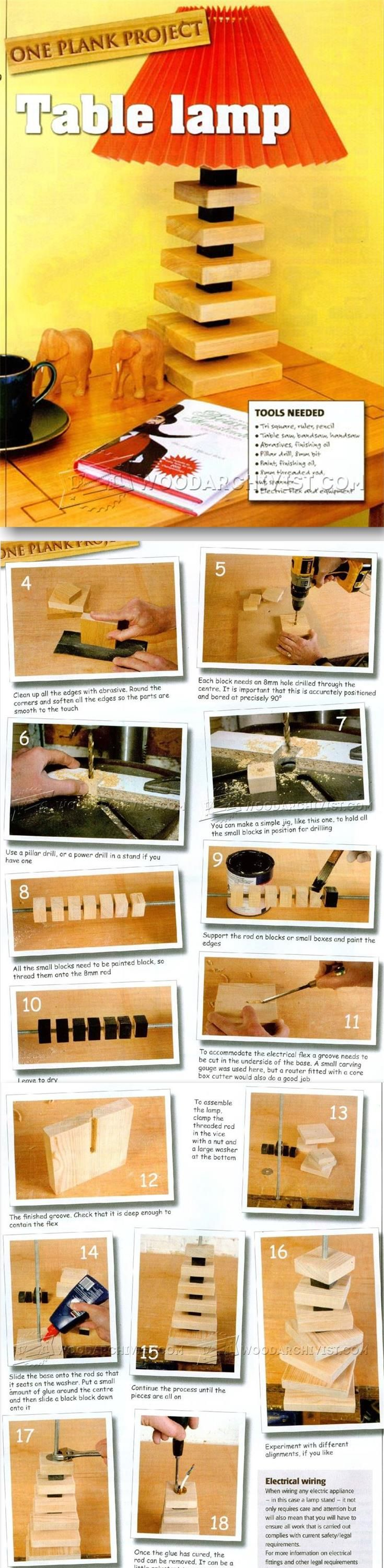 Table Lamp Plans - Woodworking Plans and Projects | WoodArchivist.com