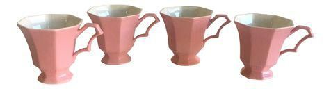 Vintage Pink Tea Cups - Set of 4 on Chairish.com