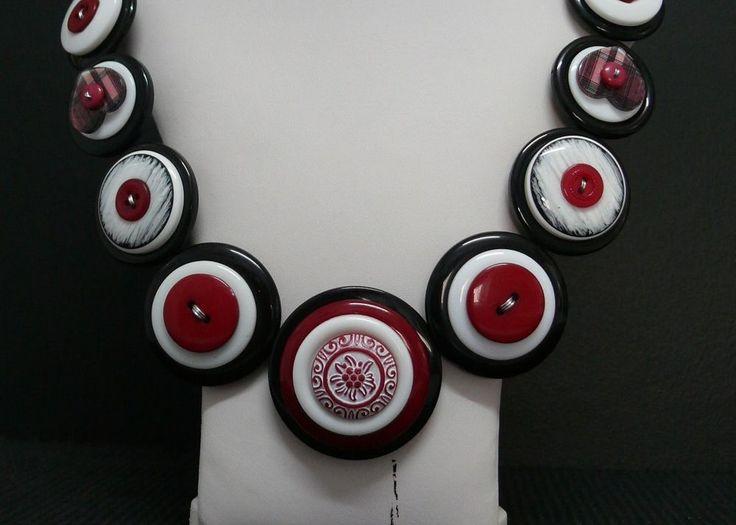 Black, White & Maroon Handmade Ladies 55cm Button Necklace & Stud Earring Set