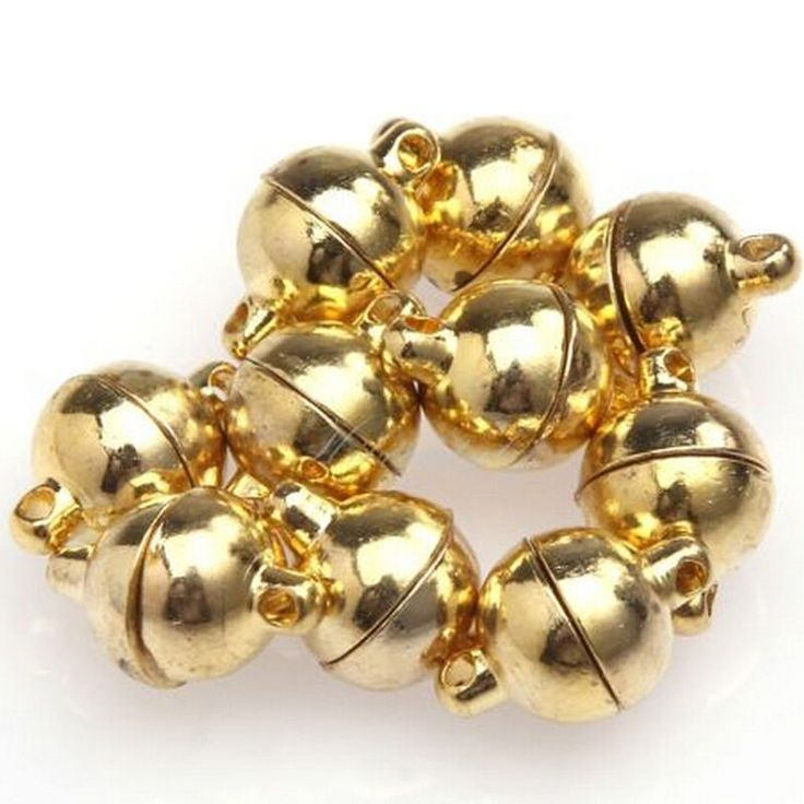 10 Sets Silver/Gold Plated Round Beads Magnetic Clasps 6/8mm For Necklace DIY li